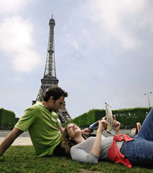 couple under the eiffel tower
