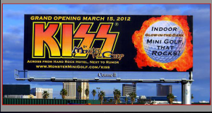 A billboard advertises the KISS miniature golf course in Las Vegas. (Los Angeles Times)